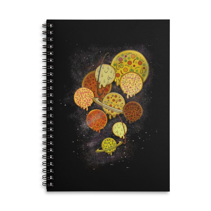 THE PLANETS OF PIZZA Accessories Lined Spiral Notebook by chevsy's Artist Shop