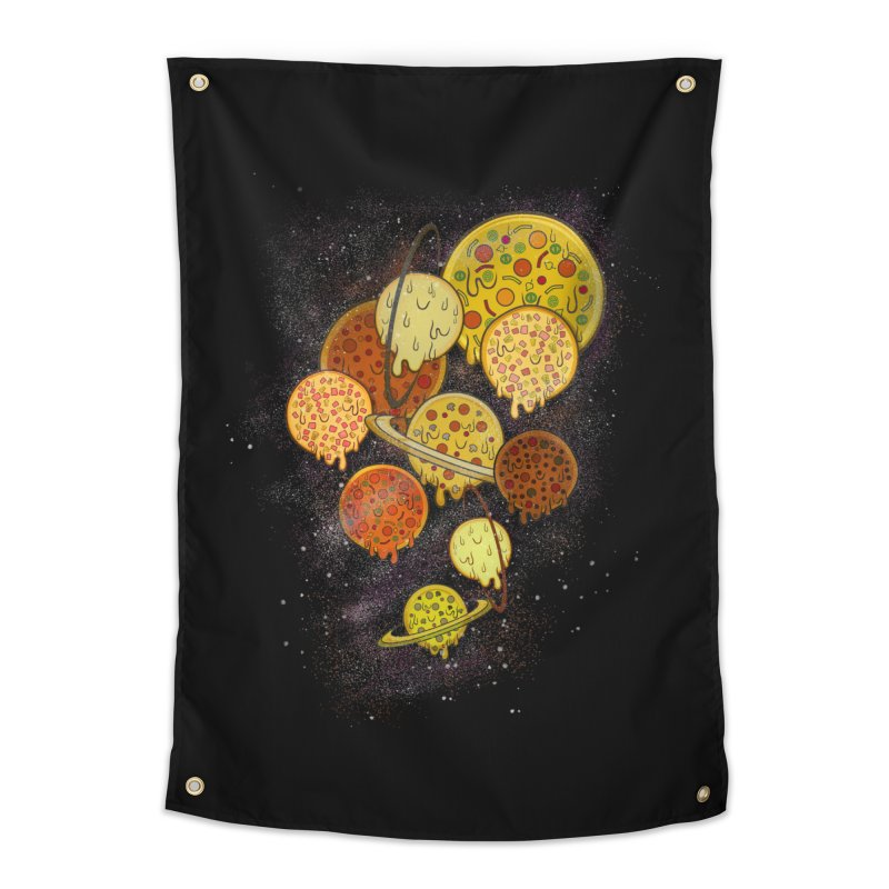 THE PLANETS OF PIZZA Home Tapestry by chevsy's Artist Shop