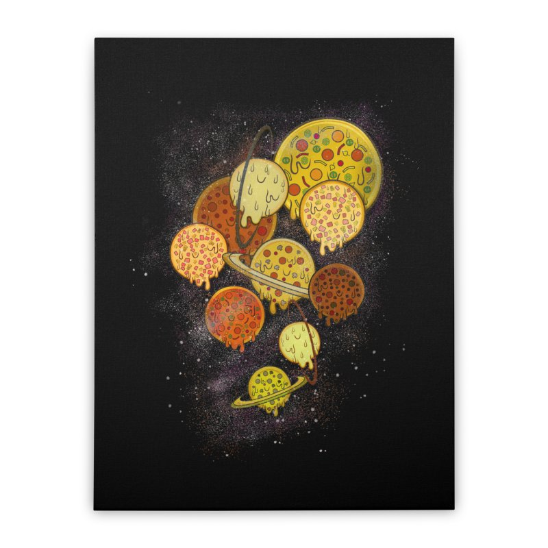 THE PLANETS OF PIZZA Home Stretched Canvas by chevsy's Artist Shop