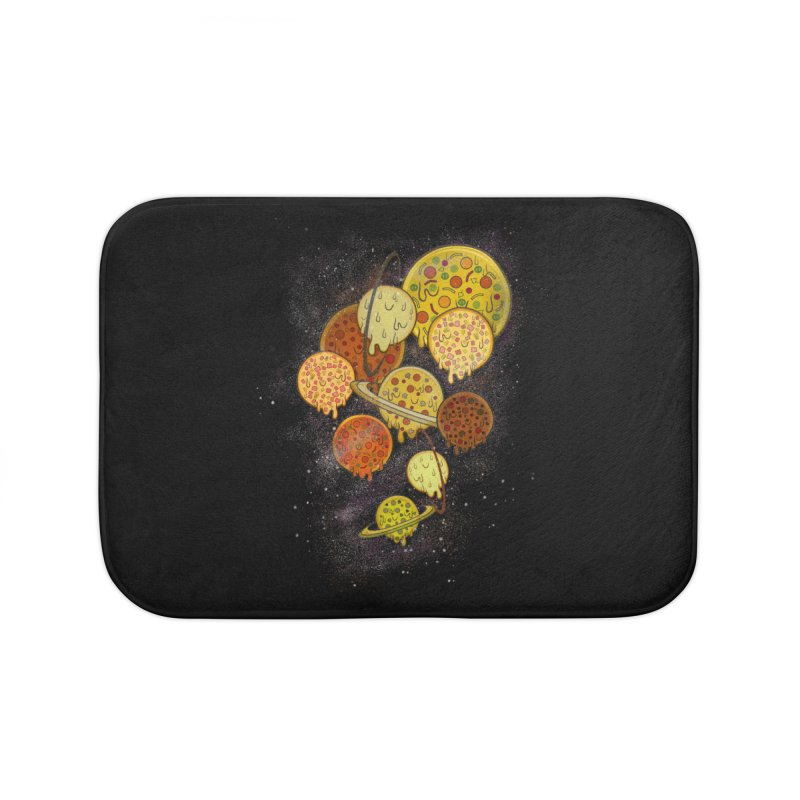 THE PLANETS OF PIZZA Home Bath Mat by chevsy's Artist Shop