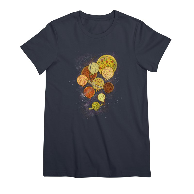 THE PLANETS OF PIZZA Women's Premium T-Shirt by chevsy's Artist Shop