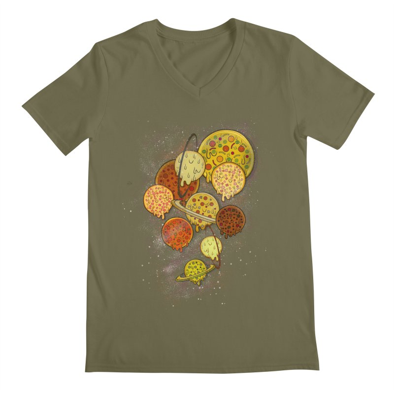 THE PLANETS OF PIZZA Men's Regular V-Neck by chevsy's Artist Shop