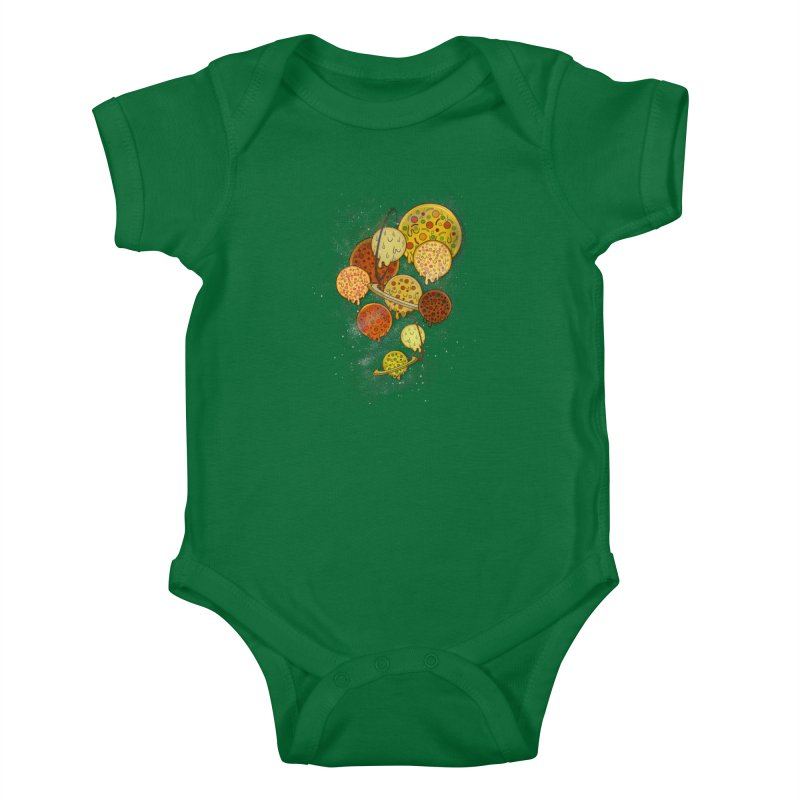 THE PLANETS OF PIZZA Kids Baby Bodysuit by chevsy's Artist Shop