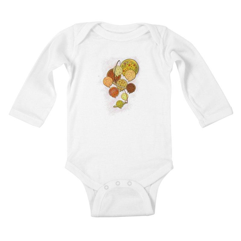THE PLANETS OF PIZZA Kids Baby Longsleeve Bodysuit by chevsy's Artist Shop