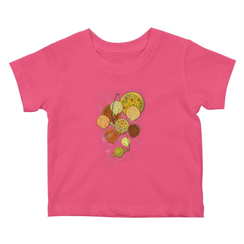 THE PLANETS OF PIZZA Kids Baby T-Shirt by chevsy's Artist Shop