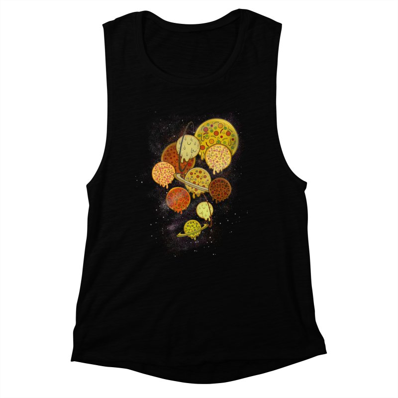 THE PLANETS OF PIZZA Women's Muscle Tank by chevsy's Artist Shop