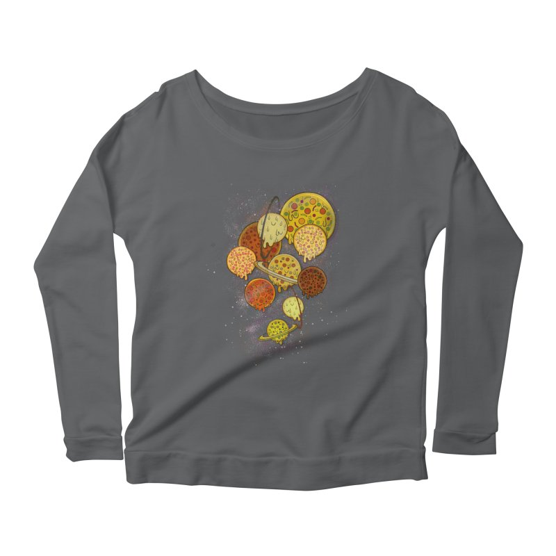 THE PLANETS OF PIZZA Women's Scoop Neck Longsleeve T-Shirt by chevsy's Artist Shop