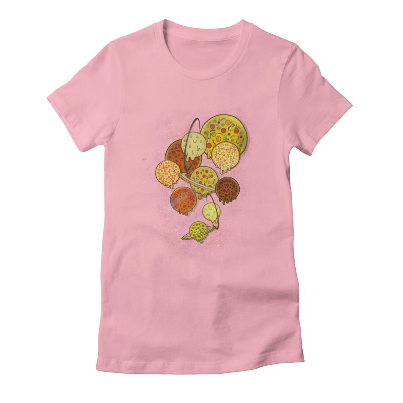 THE PLANETS OF PIZZA Women's Fitted T-Shirt by chevsy's Artist Shop