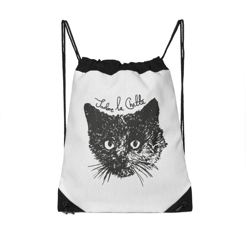 J'adore La Chatte Accessories Drawstring Bag Bag by chevsy's Artist Shop