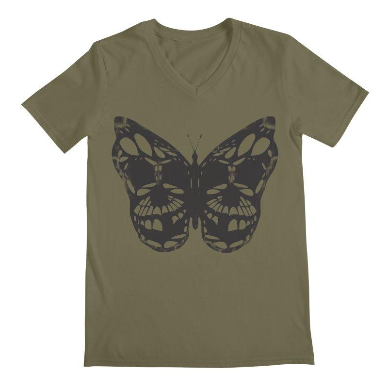 Butterfly of Death Men's Regular V-Neck by chevsy's Artist Shop