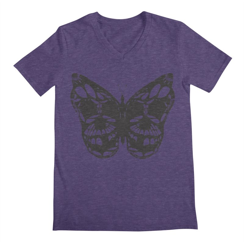 Butterfly of Death Men's Regular V-Neck by chevsy's Artist Shop