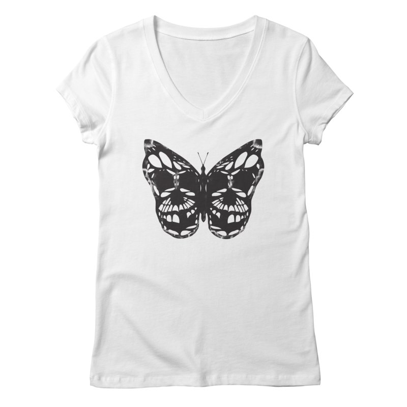 Butterfly of Death Women's Regular V-Neck by chevsy's Artist Shop