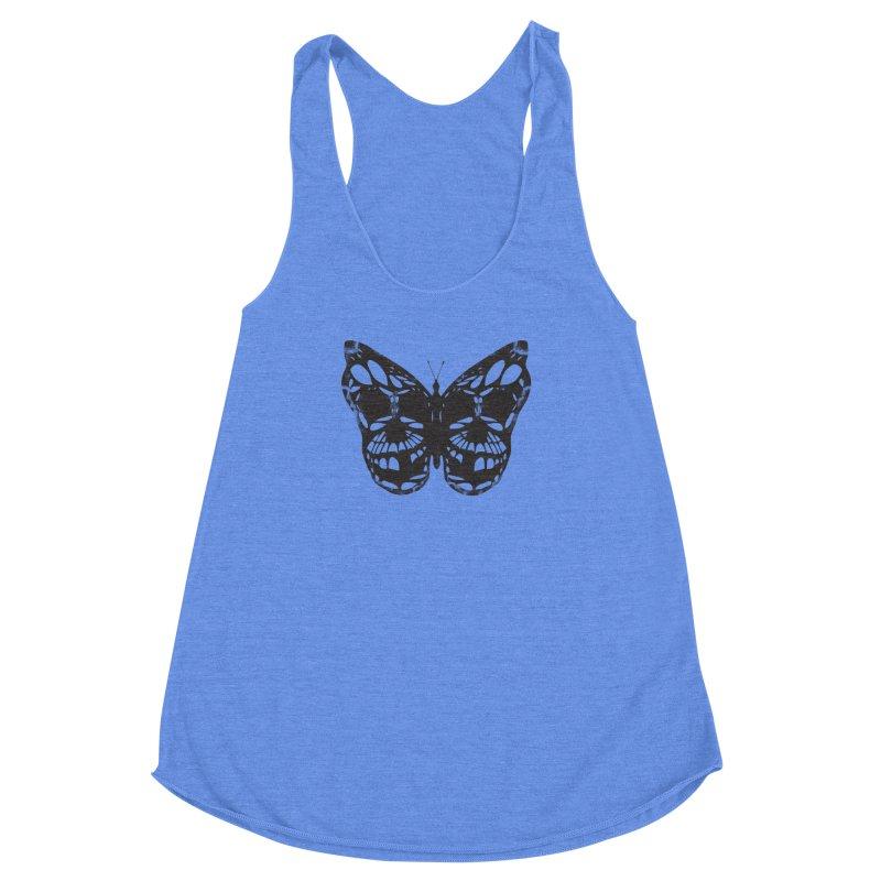 Butterfly of Death Women's Racerback Triblend Tank by chevsy's Artist Shop