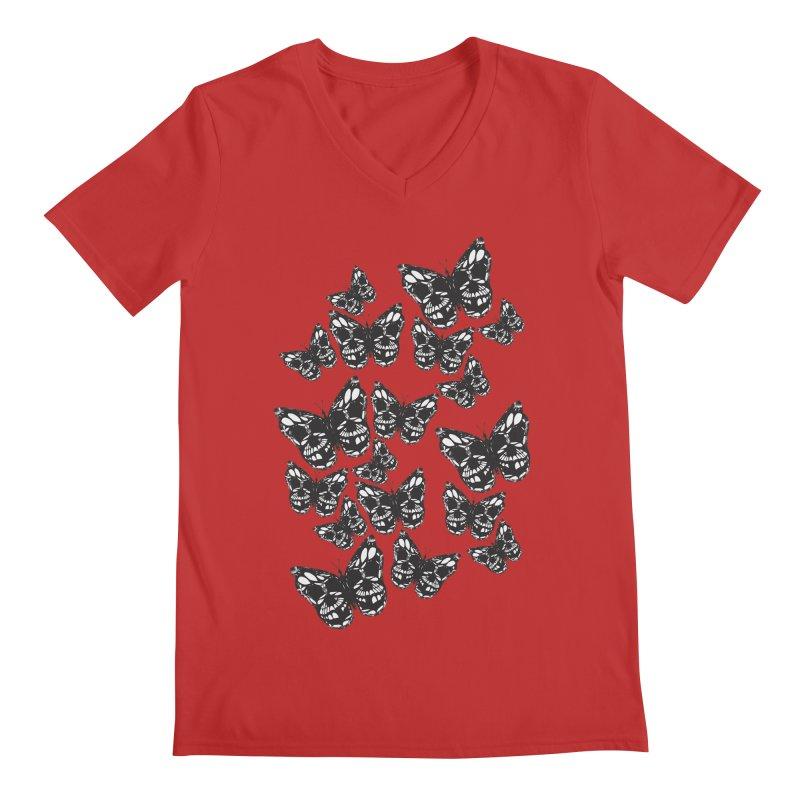 Butterflies of Death Men's Regular V-Neck by chevsy's Artist Shop
