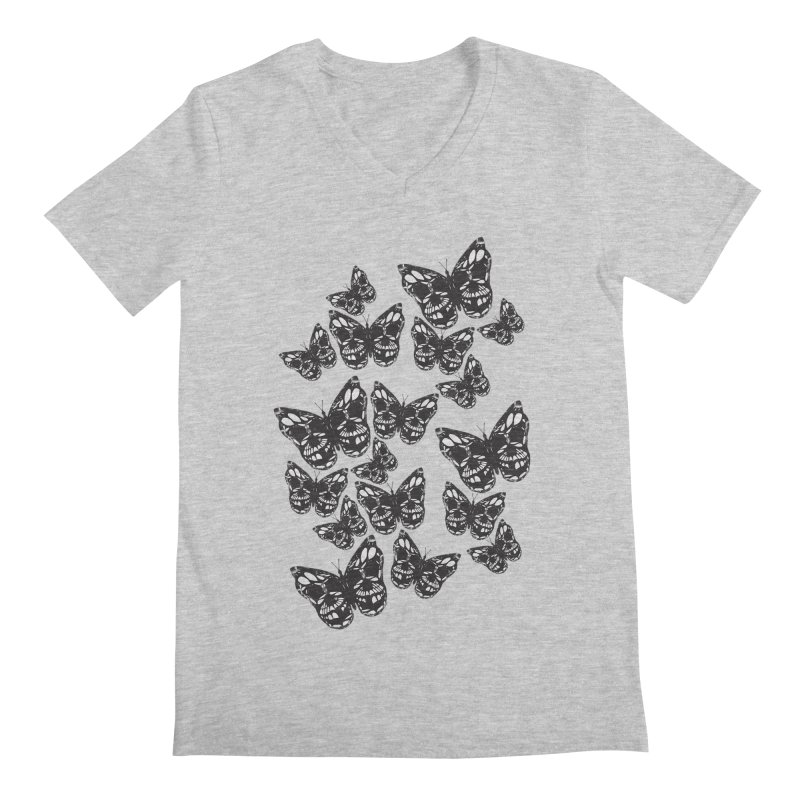 Butterflies of Death Men's Regular V-Neck by chevsy's Artist Shop