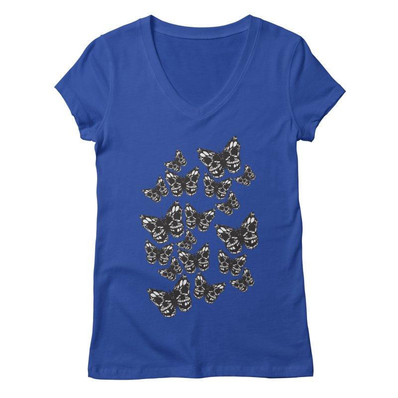 Butterflies of Death Women's Regular V-Neck by chevsy's Artist Shop