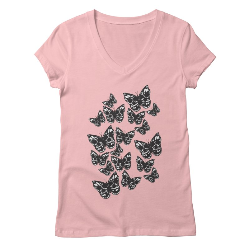 Butterflies of Death Women's V-Neck by chevsy's Artist Shop