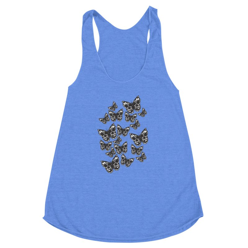 Butterflies of Death Women's Racerback Triblend Tank by chevsy's Artist Shop