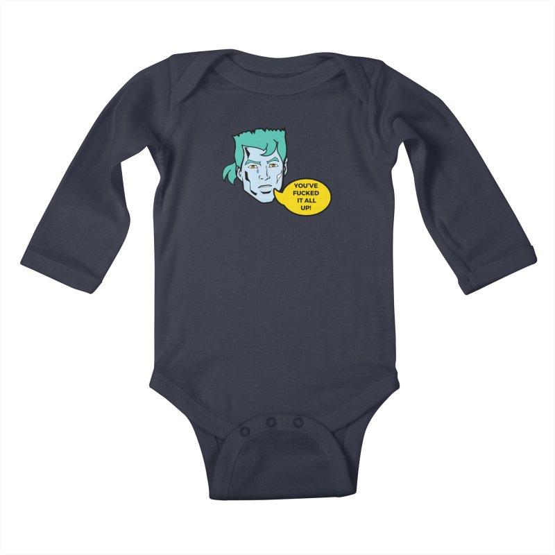 CAPTAIN PLANET IS NOT HAPPY Kids Baby Longsleeve Bodysuit by chevsy's Artist Shop