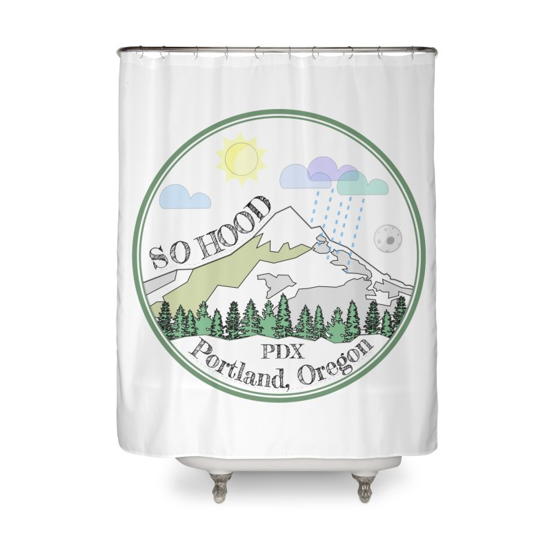 Mt. Hood [white background, works on all colors] Home Shower Curtain by Northern Limit