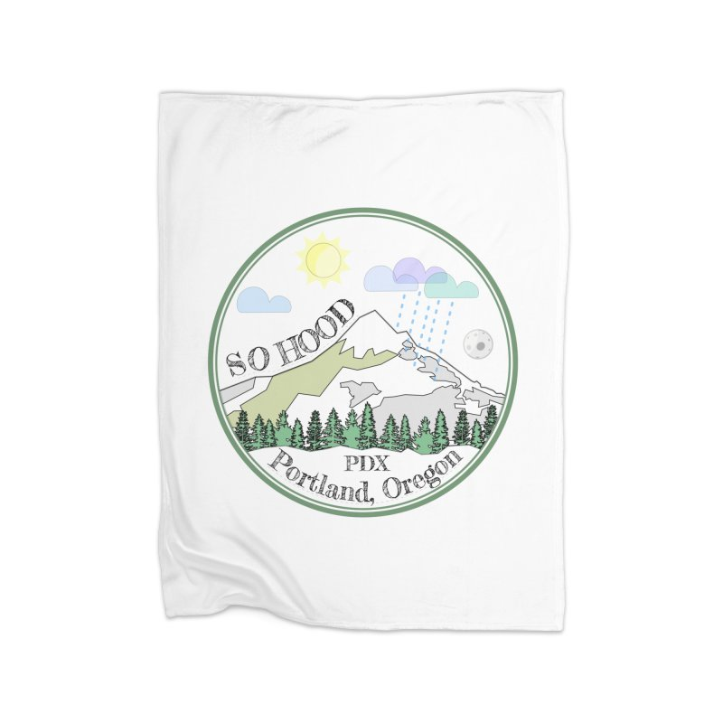 Mt. Hood [white background, works on all colors] Home Fleece Blanket Blanket by Northern Limit