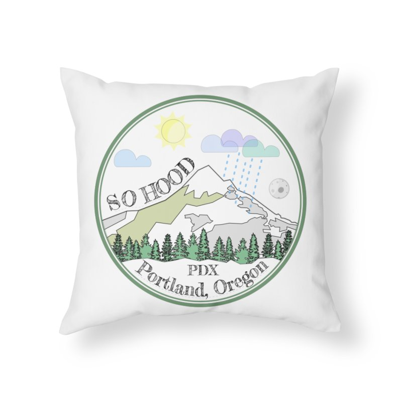 Mt. Hood [white background, works on all colors] Home Throw Pillow by Northern Limit