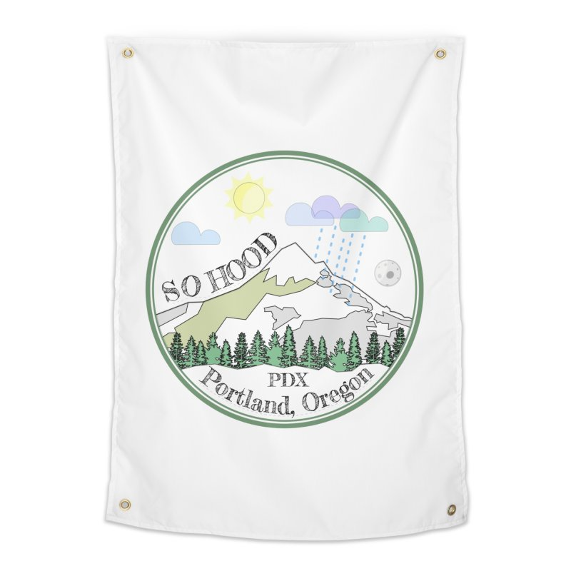 Mt. Hood [white background, works on all colors] Home Tapestry by Northern Limit