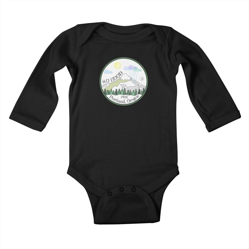 Mt. Hood [white background, works on all colors] Kids Baby Longsleeve Bodysuit by Northern Limit