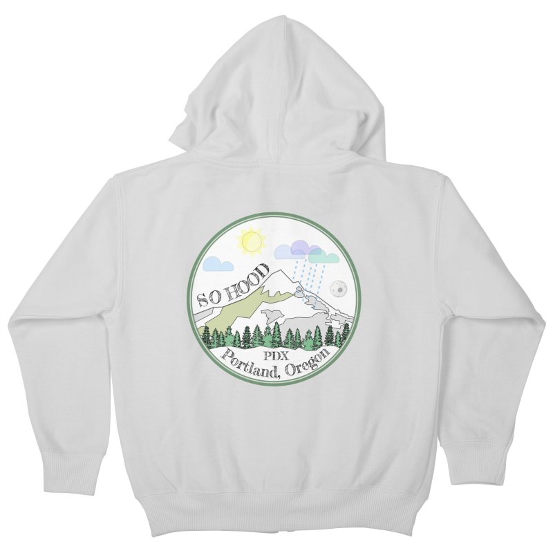 Mt. Hood [white background, works on all colors] Kids Zip-Up Hoody by Northern Limit