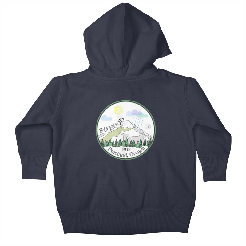 Mt. Hood [white background, works on all colors] Kids Baby Zip-Up Hoody by Northern Limit