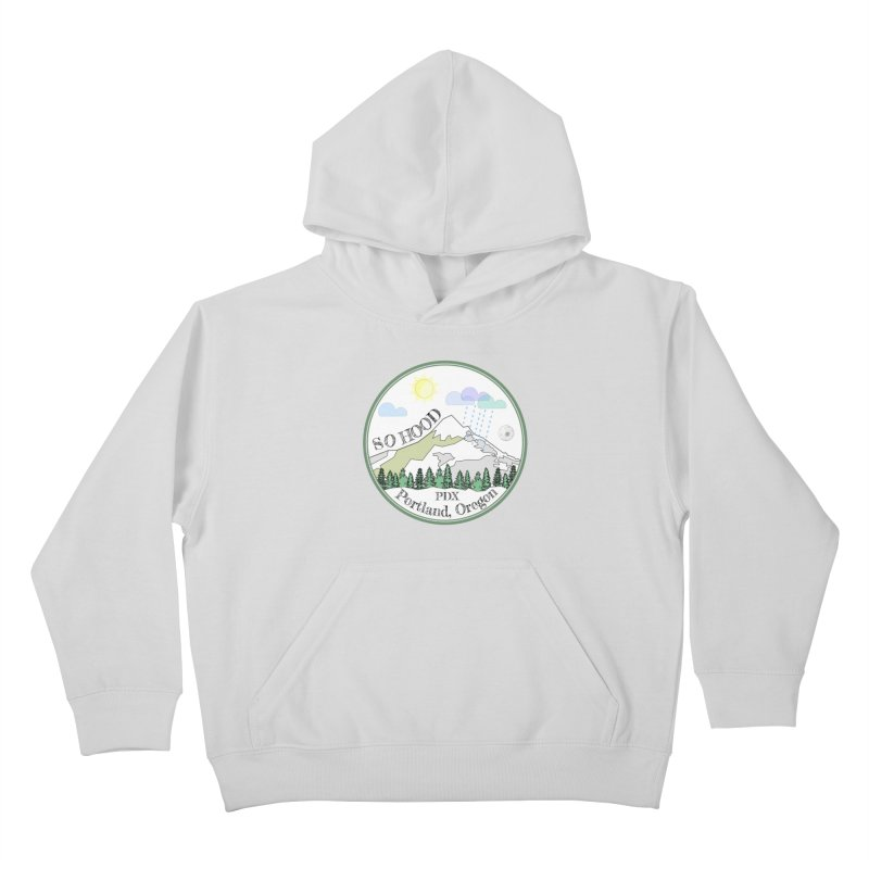 Mt. Hood [white background, works on all colors] Kids Pullover Hoody by Northern Limit