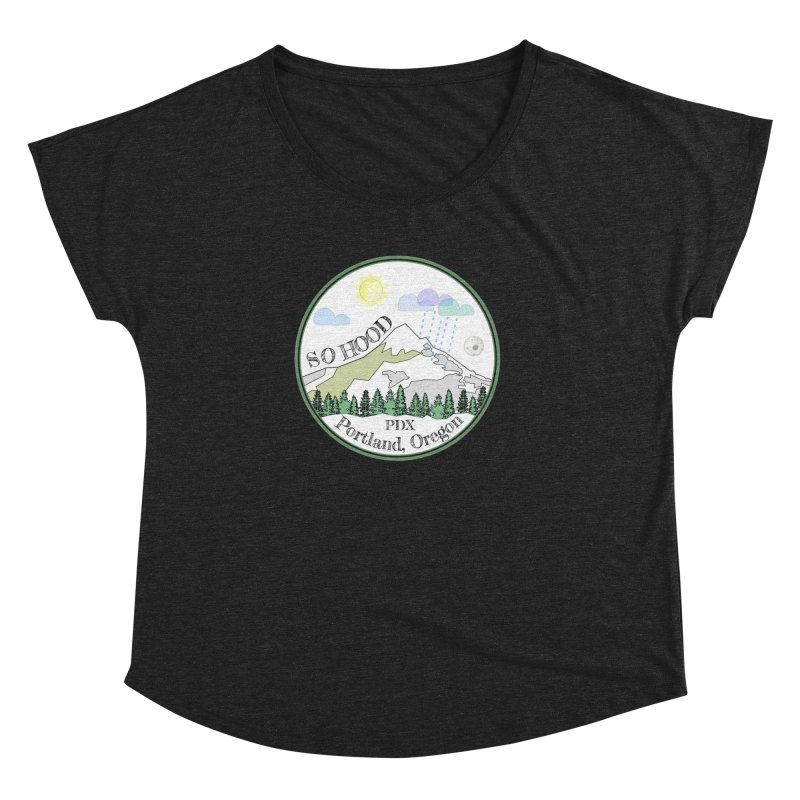Mt. Hood [white background, works on all colors] Women's Dolman Scoop Neck by Northern Limit