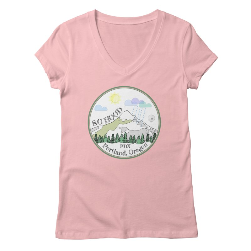Mt. Hood [white background, works on all colors] Women's V-Neck by Northern Limit