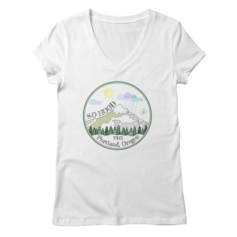 Mt. Hood [white background, works on all colors] Women's Regular V-Neck by Northern Limit
