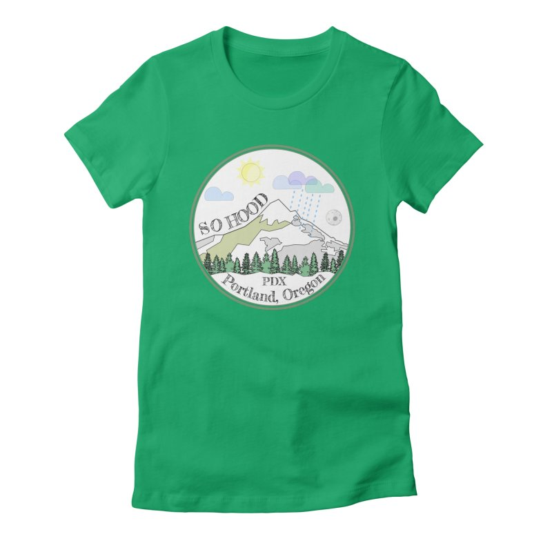 Mt. Hood [white background, works on all colors] Women's Fitted T-Shirt by Northern Limit
