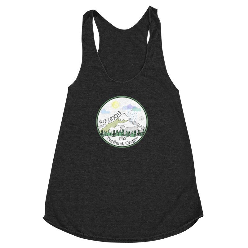 Mt. Hood [white background, works on all colors] Women's Racerback Triblend Tank by Northern Limit