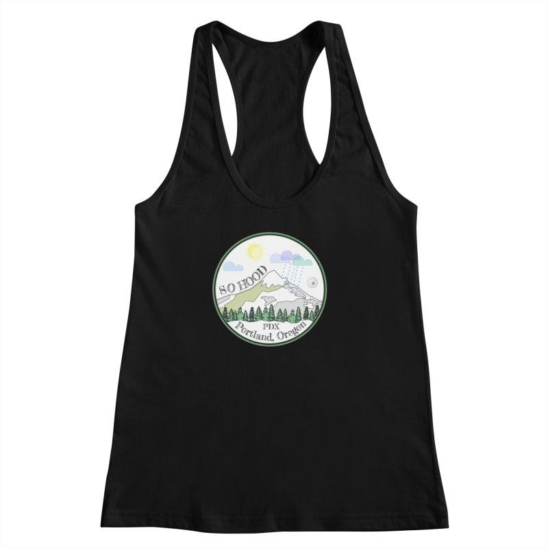 Mt. Hood [white background, works on all colors] Women's Racerback Tank by Northern Limit