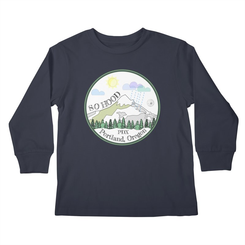 Mt. Hood [white background, works on all colors] Kids Longsleeve T-Shirt by Northern Limit