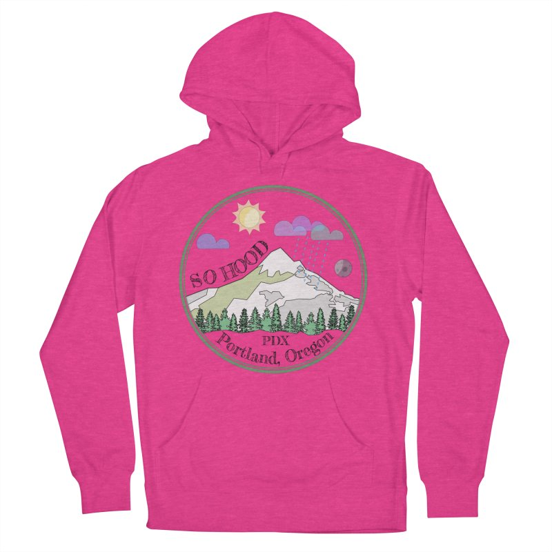 Mt. Hood [transparent background, dark text] Women's French Terry Pullover Hoody by Northern Limit