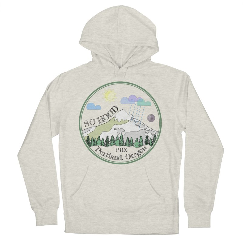 Mt. Hood [transparent background, dark text] Men's French Terry Pullover Hoody by Northern Limit