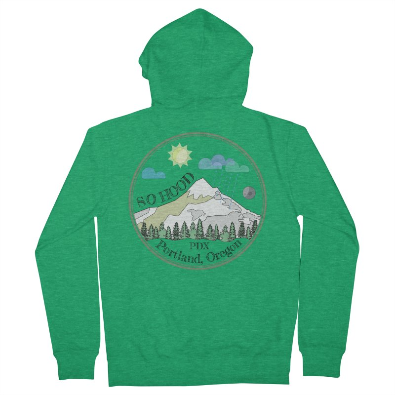 Mt. Hood [transparent background, dark text] Women's French Terry Zip-Up Hoody by Northern Limit