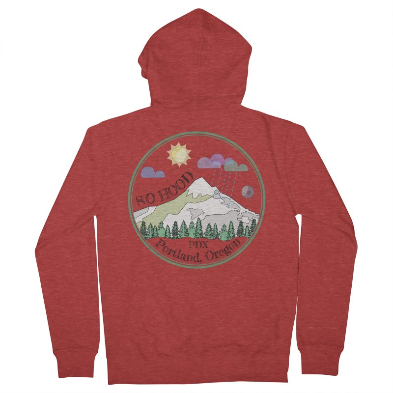 Mt. Hood [transparent background, dark text] Men's French Terry Zip-Up Hoody by Northern Limit
