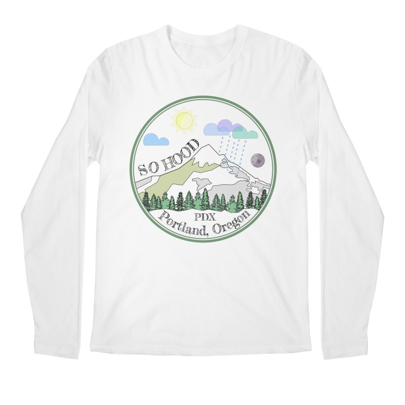 Mt. Hood [transparent background, dark text] Men's Regular Longsleeve T-Shirt by Northern Limit