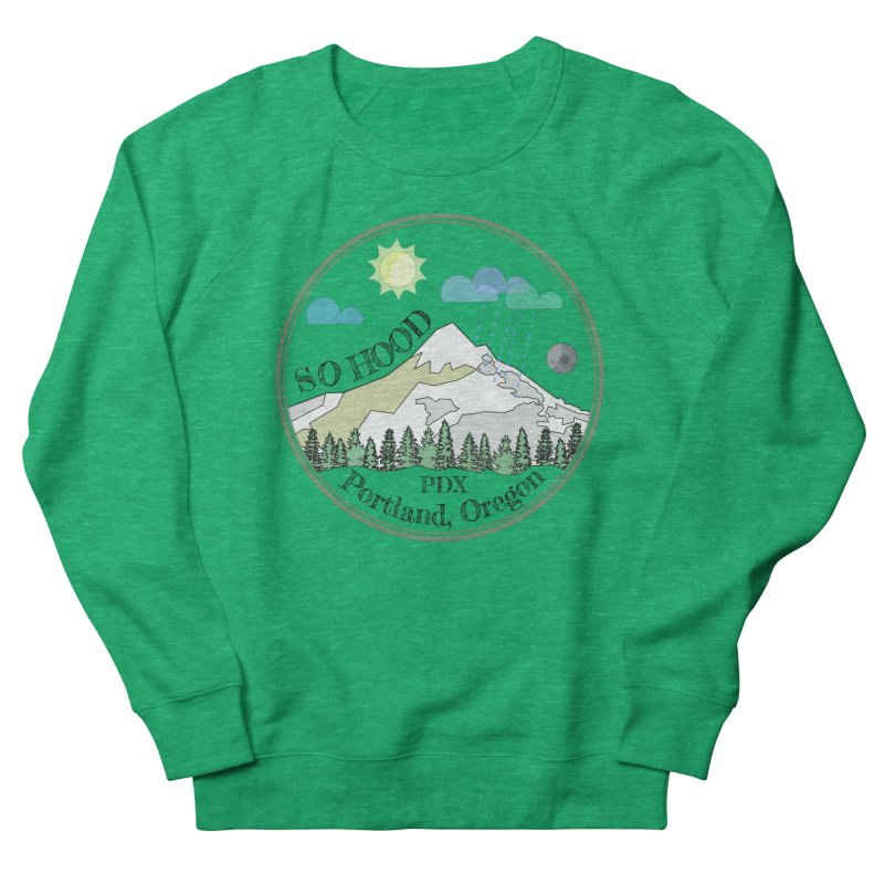 Mt. Hood [transparent background, dark text] Women's French Terry Sweatshirt by Northern Limit