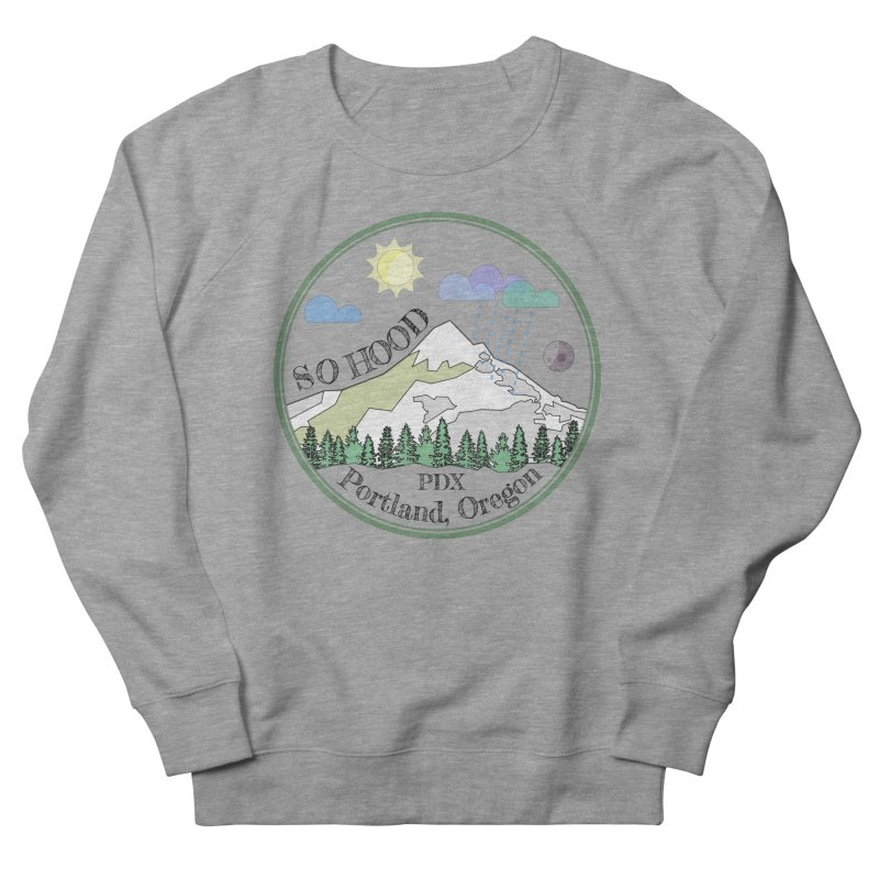 Mt. Hood [transparent background, dark text] Men's French Terry Sweatshirt by Northern Limit