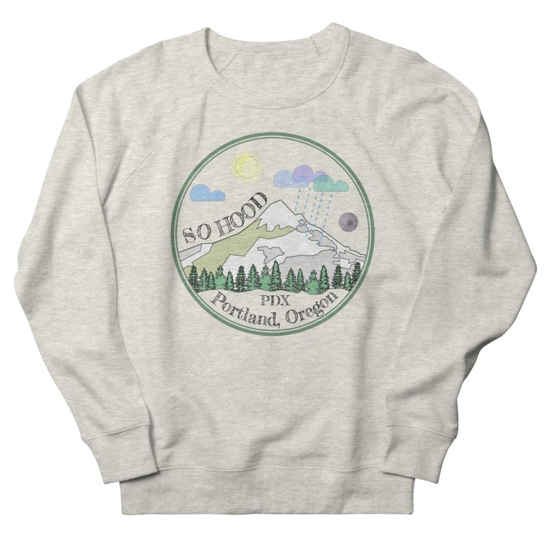 Mt. Hood [transparent background, dark text] Men's French Terry Sweatshirt by Northern Limit