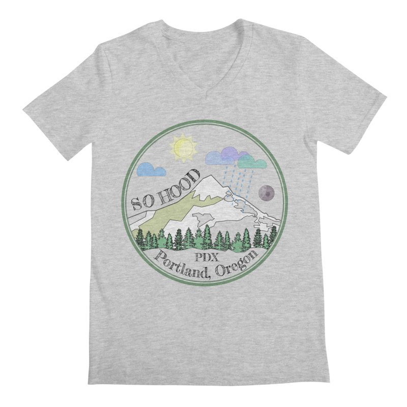 Mt. Hood [transparent background, dark text] Men's V-Neck by Northern Limit