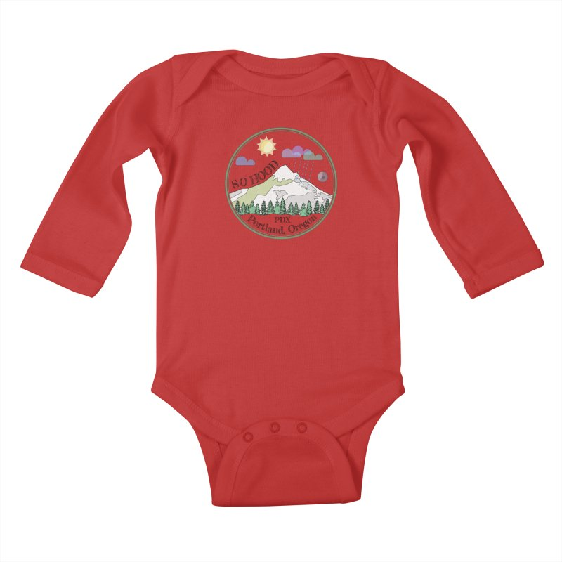 Mt. Hood [transparent background, dark text] Kids Baby Longsleeve Bodysuit by Northern Limit