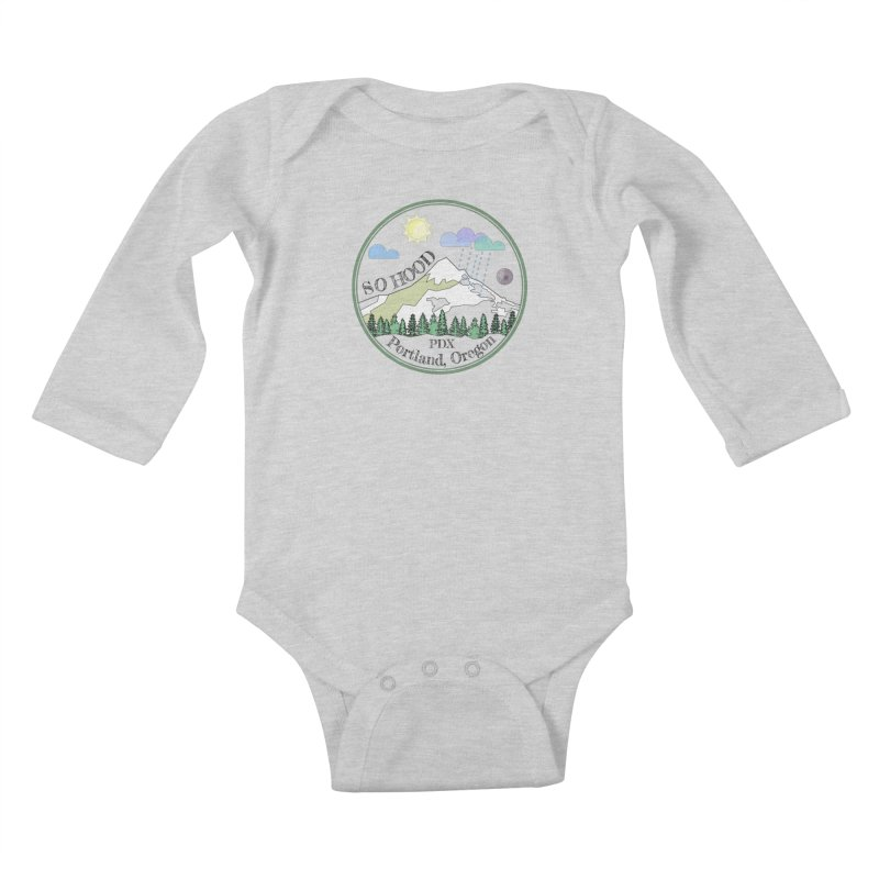 Mt. Hood [transparent background, dark text] Kids Baby Longsleeve Bodysuit by Northern Limit