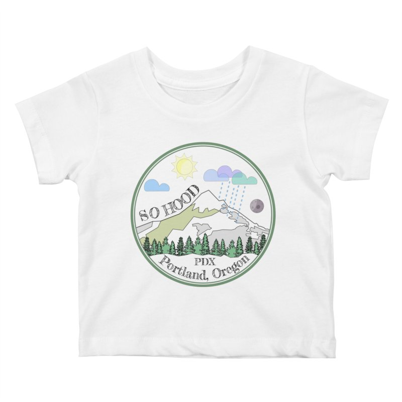 Mt. Hood [transparent background, dark text] Kids Baby T-Shirt by Northern Limit